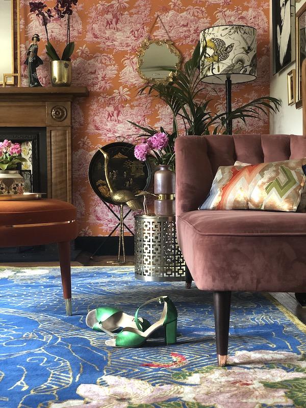 Dragon Florals Blue & Gold Hand-Made Designer Rug