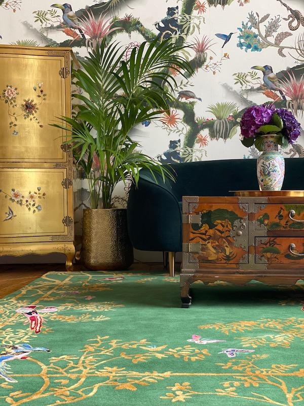 Jardin de Orient Green and Gold Designer Rug
