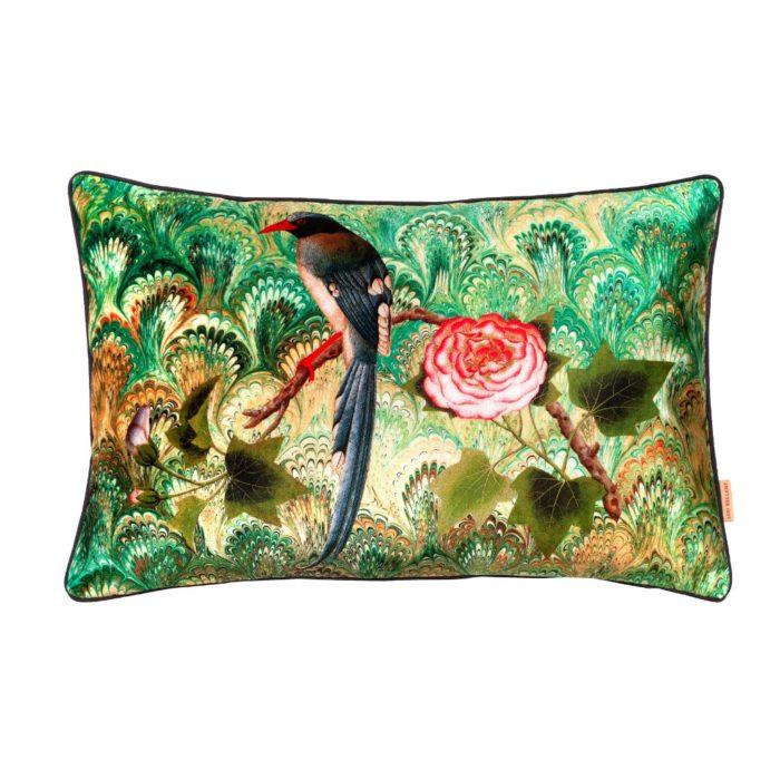 Bird Motif Velvet Cushion