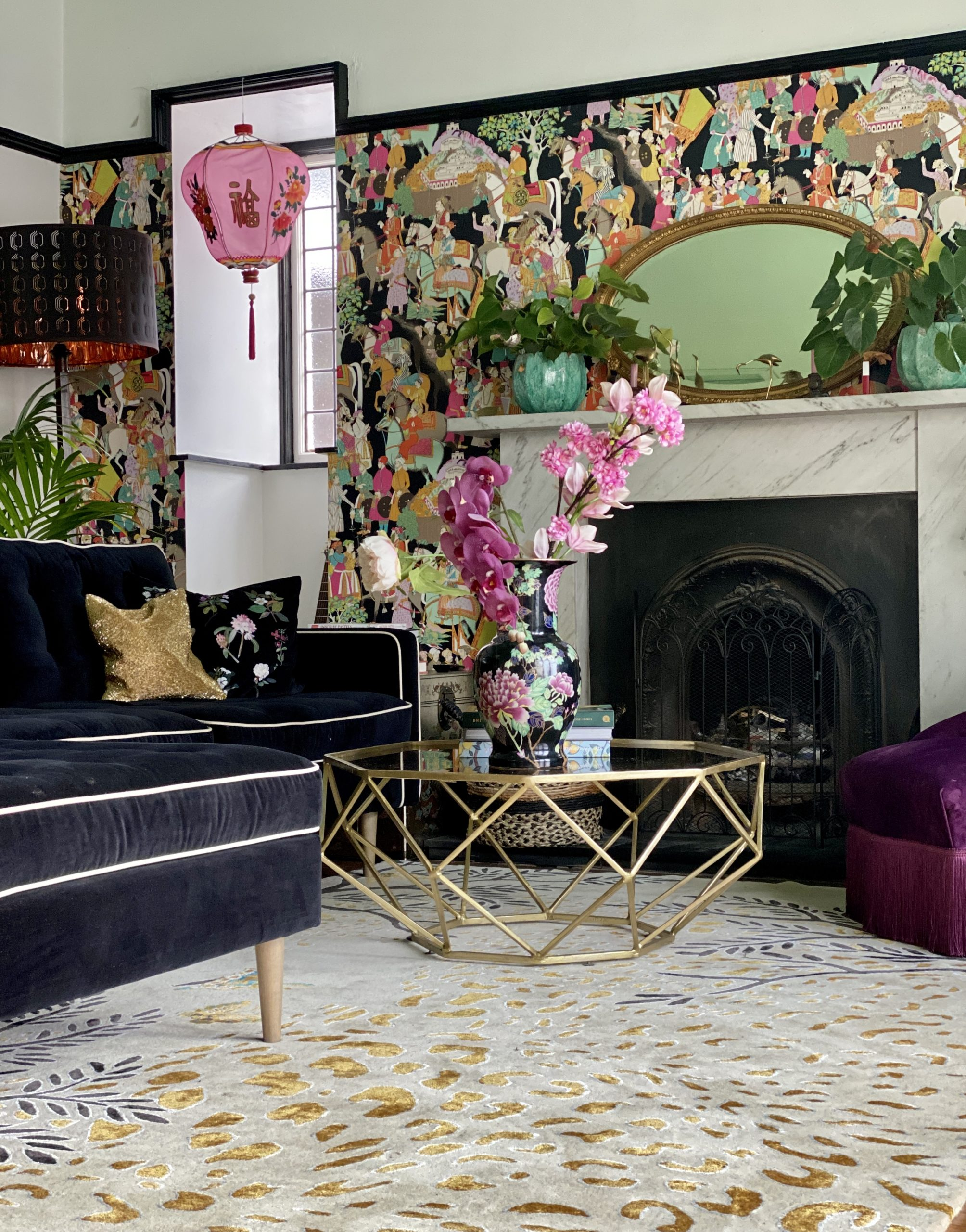 Leopard rug in living room setting
