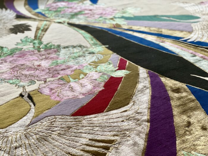 Close up of colourful handmade rug