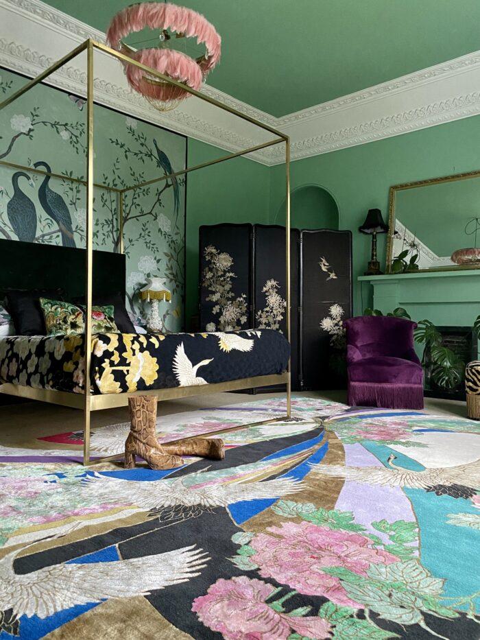 Colourful handmade bedroom rug