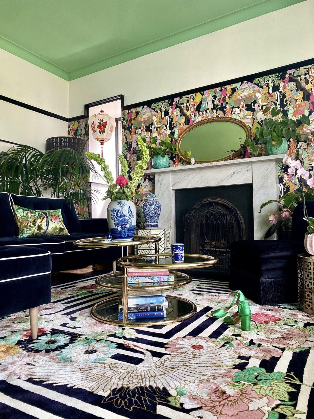 Monochrome-inspired Rug in Living Room