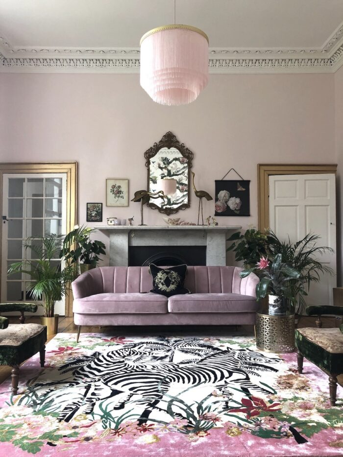 Pink Rug with Pink Sofa