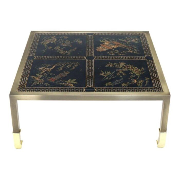 Brass and Gold Decorated Reverse Painted Glass Top Square Coffee Table hairish