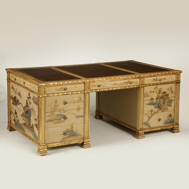 Chinoiserie Hand-Painted Parcel Gilt Partners Pedestal Desk from Chairish.com